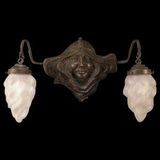 Early 1900's Art Nouveau French ALL Bronze Girl Sculpture Figure Sconce Lamp Flame Shade
