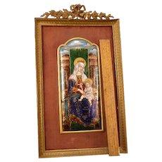 19 c French Bronze Jeweled 10+ COLOR Enamel on Copper Portrait Gilt Woman Plaque