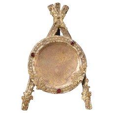 19 c Victorian Bronze Ormolu Palais Royal Garnet Jewel Pocket Watch Holder Stand
