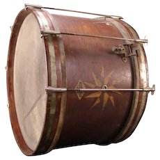 1890's Military Regimental Sp/Am War Snare Inlaid Oak Star Wood J.W. Pepper Drum