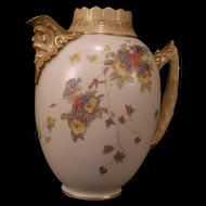 1889 Royal Doulton Burslem Neoclassical Hand Painted Gilt Figure Pitcher Pot Urn