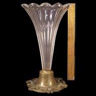LG 1850s Flint Glass Bronze Epergne Celery Vase Spooner Urn New England Sandwich