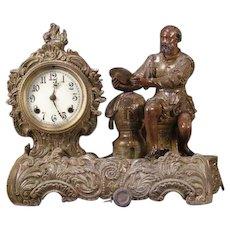 RARE 19c Victorian French Spelter Renaissance BARD Figure Sculpture Mantle Clock