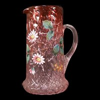 RARE 19 c Victorian Rubina Cranberry Glass Diamond Optic Moser Enamel Pitcher