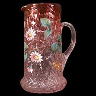 RARE 19 c Victorian Rubina Cranberry Glass Diamond Optic Moser Enamel Pitcher