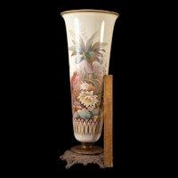 HUGE 19 c Bronze IMPASTO Enamel Butterfly Bird Portrait Custard Glass FLOOR Vase