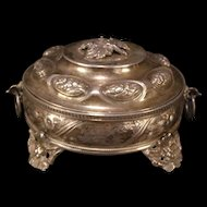 19 c Silver Chase Relief Covered Trinket Jewelry Dish Dresser Box Opaline Glass