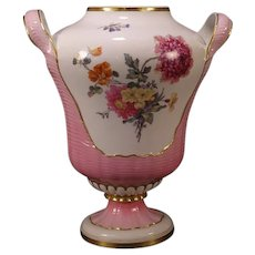 1800's KPM Berlin German Porcelain Hand Painted Flower Basket Potpourri Vase Urn