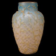 1880s Mt. Washington Coralene Diamond Quilt MOP Satin  Glass Beaded Vase