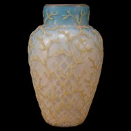 1880's Mt. Washington MOP Coralene Satin Seaweed Beaded Blue Uranium Glass Vase