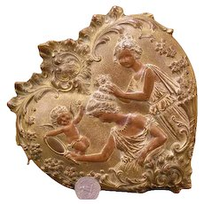 1800's Heart Cupid Figure Portrait Jewelry Trinket Vanity Dresser Gilt Relief Box Cherub Valentine