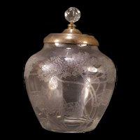 Antique Nouveau LOCKE ART Etched Lily Pad Glass Biscuit Cracker Jar ~Jugendstil~