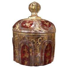 Antique Moser Bohemian Glass Gilt Cabochon Jewelry Trinket Box Candy Powder Jar