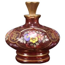 Antique Cranberry Moser Bohemian H PAINTED Enamel Gold Leaf Perfume Glass Bottle