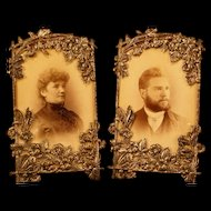 PAIR of 1800's Victorian Metal Picture Portrait Cabinet Card Photo Flower Filigree Frame