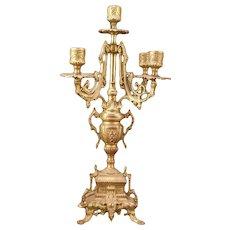19th century French Napoleon Empire Gilt Bronze Ormolu Dore Candle Holder Candelabra
