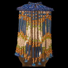 Art Deco Beaded Czech Glass Hanging ~Bell Flower~ Fringe Oil Lamp Fixture Shade