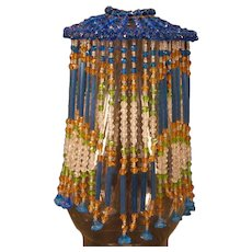 Victorian Pierced Metal Lamp Shade With Beaded Fringe Inserts Ss