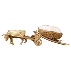 Antique Austrian Vienna Bronze Cow Cart Pincushion Figure Statue Sculpture Wagon