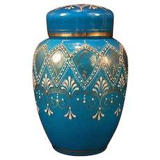 1800's Moser Bohemian Enamel Gold Leaf Blue Cased Glass Ginger Potpourri Bottle Jar