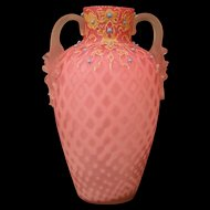 Antique Webb Cranberry Gilt Decorated Enamel Satin Diamond Cased MOP Glass Vase