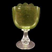 1800's Victorian CUT Vaseline Green Art Glass Carding Place Card Holder