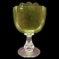 1800's Victorian Moser Bohemian French Green Art Glass Carding Place Card Holder