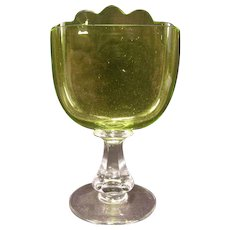 1800's Victorian CUT Vaseline Green Art Glass Carding Place Card Holder