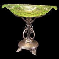 19c Victorian Silver Vaseline Glass Carding Card Holder Bride Basket Centerpiece