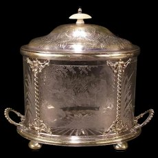 1800's Silver Cut Etched Nude Girl Man Biscuit Cracker Jar Glass Tea Box Caddy