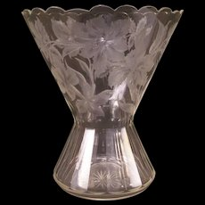 LG 1800's Moser Intaglio Carved Engraved Cut Glass Bohemian Lily Flower Vase Rose