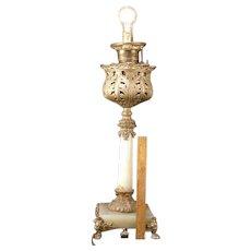 19 c Victorian GWTW Oil /Electric Banquet Parlor Corinthian Column Onyx Lamp