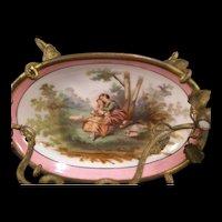 1800's French Bronze Dore Palais Royal Portrait Porcelain Dresser Tray Pin Dish