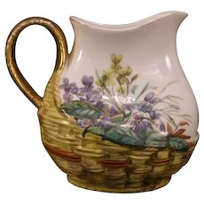 1880's Haviland Limoges French Porcelain Hand Painted Raised Relief Pitcher Petrea