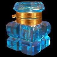 1800's Victorian Hand Blown Blue Glass Inkwell Brass Beveled Cut Faceted Hinged