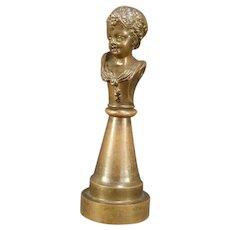 1800's SOLID Bronze Bust Girl Figure Sculpture Statue Pedestal Austrian Vienna