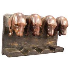 Antique Carved BLACK FOREST Dachshund Hound Dog Pipe Tobacco Holder Stand Rack