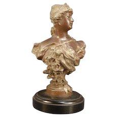 19th c Victorian Art Nouveau Bronze Girl Sculpture Statue Bust Plinth Pedestal