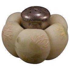Antique Mt Washington Melon Enamel Painted Puffy Salt Shaker Lusterless Glass
