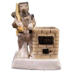Antique German Porcelain Figure Red Riding Hood Wolf Match Safe Holder Striker