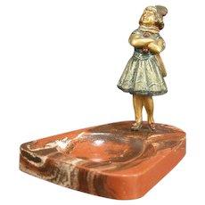 Antique Vienna Austrian Bronze Dancer Figure Dresser Tray Ring Dish Redware Girl