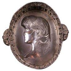 1800's Victorian Silver Plate Girl Dish Bride Basket Portrait Calling Card Holder Bowl