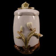 1800's Staffordshire Longton Moore Bros Cactus Flower Tea Caddy Jar Pot Ginger