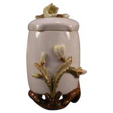 1800's Staffordshire Longton Moore Bros Cactus Flower Tea Caddy Jar Pot Ginger