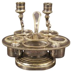 19 c Victorian Silver Ink Well Stand Set Pot Candle Holder Stick Standish Tray
