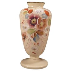 LG 19c Victorian French Opaline Custard Glass Hand Painted Enamel Vase