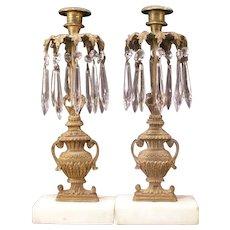 19c Victorian Bronze Marble Prism Candle Stick Holder Girandoles Lustre Urn Ewer