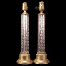 Pair of Mid Century Modern Hollywood Regency Cut Glass Cylinder Light Fixture Lamps