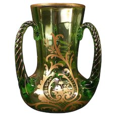 Antique Blown Moser Czech Bohemian Glass Gold Leaf Gilt Loving Cup Vase Green