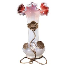 19c Art Nouveau Bronze Holder Epergne Opalescent Oxblood Glass Poppy Flower Vase
